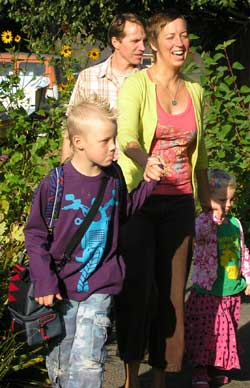 The whole family is walking to school today.